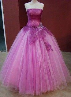 Listrado vestido roxo Quinceanera