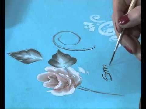 ▶ Como pintar una rosa - Pinceladas - Pintura Decorativa - Silvia Mongelos - YouTube
