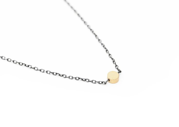 Matte gold necklace with oxidized silver chain