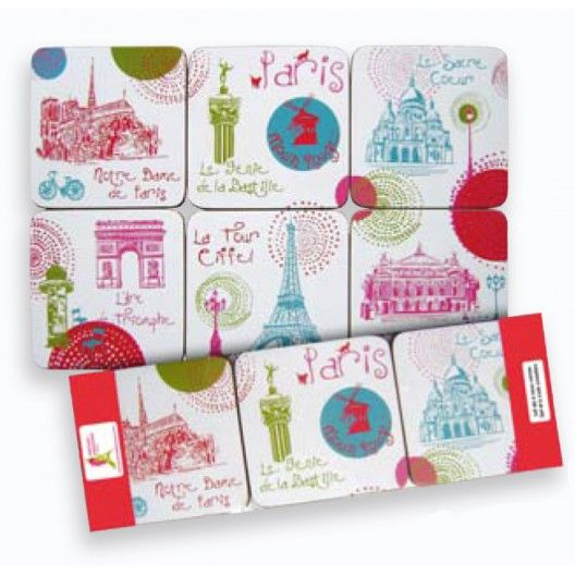 Each of the colorful coasters in this set of 6 features a different monument of Paris. The cork bottoms will ensure the coasters do not slide or damage your furniture!