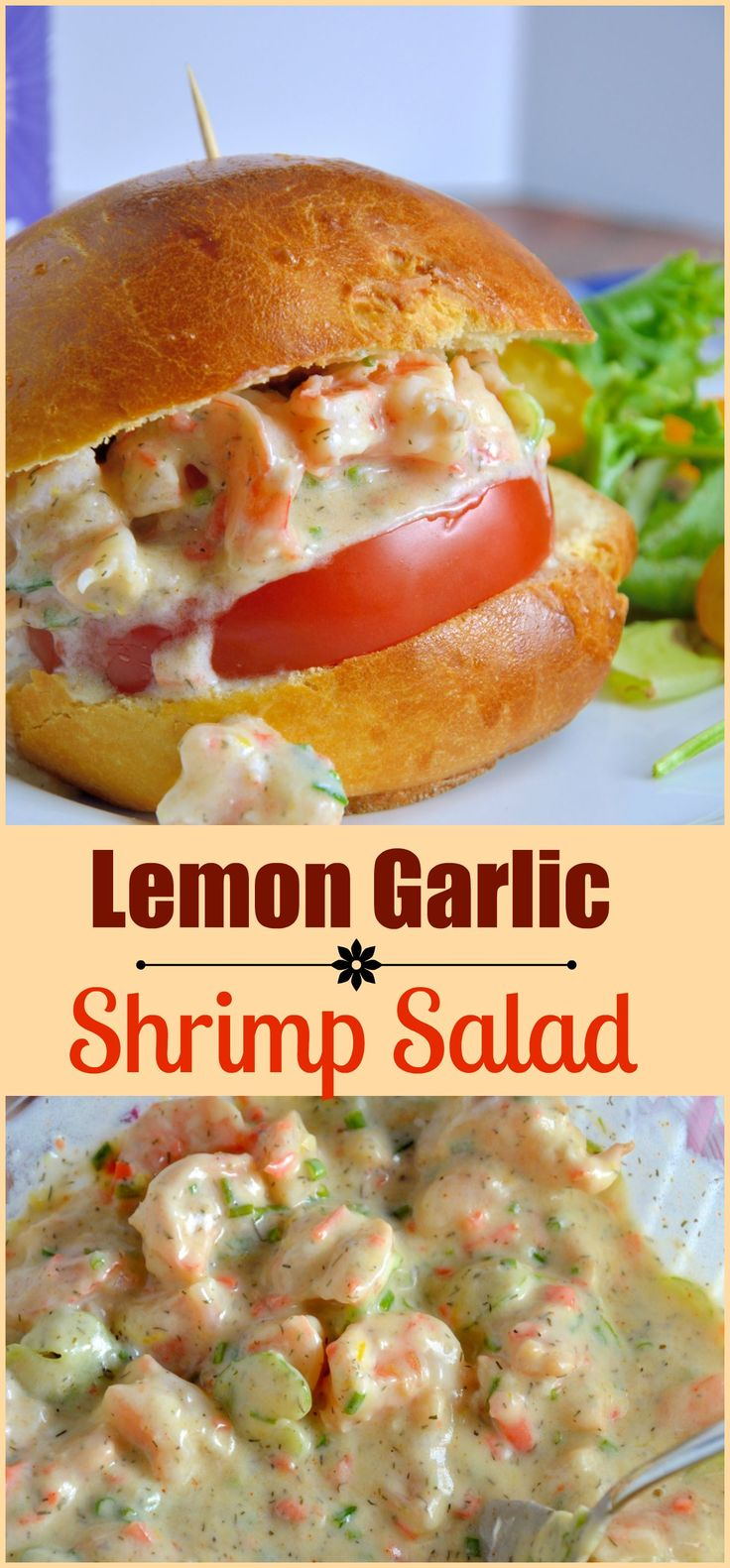 Lemon Garlic Shrimp Salad is a healthier version of classic comfort food using plain yogurt, celery, carrots, chives, dill and spices on a buttery brioche roll.