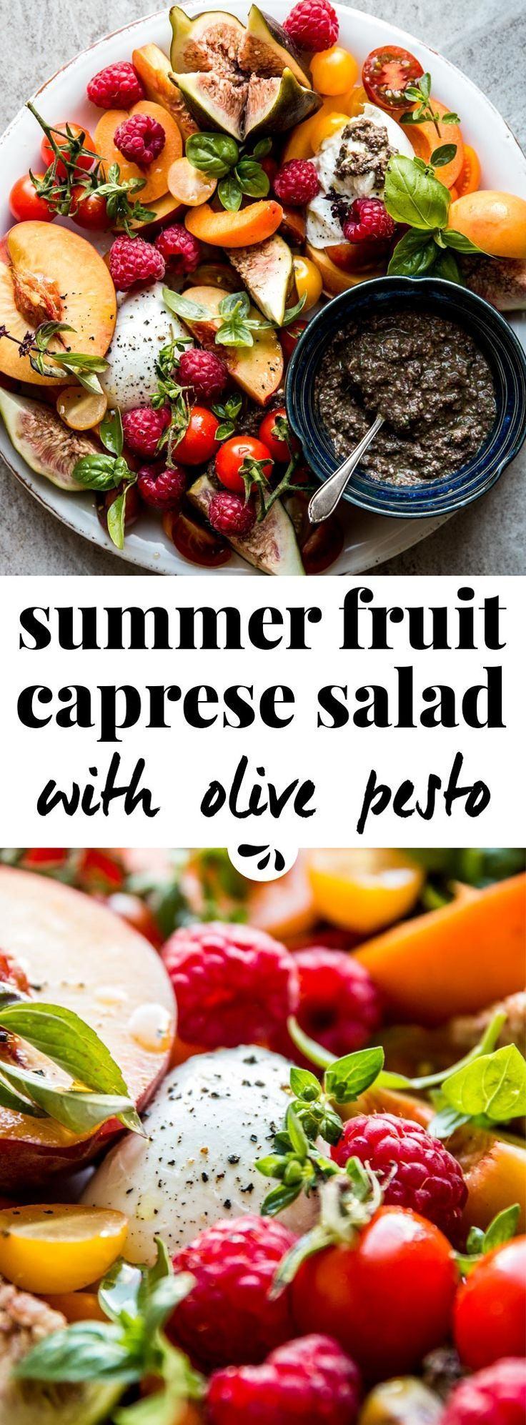 This summer fruit caprese salad is healthy, easy, simple & full of fresh produce. Cherry tomato, peach, raspberry, figs and more stone fruit turn it into the best with buffalo mozzarella or burrata. Traditional Italian caprese doesn't have a dressing with balsamic vinegar. Instead, serve with black olive and basil pesto on the side. The perfect meal with a loaf of ciabatta bread and some prosciutto. Arranged on a platter for nice presentation, great to impress a crowd at your next dinner par