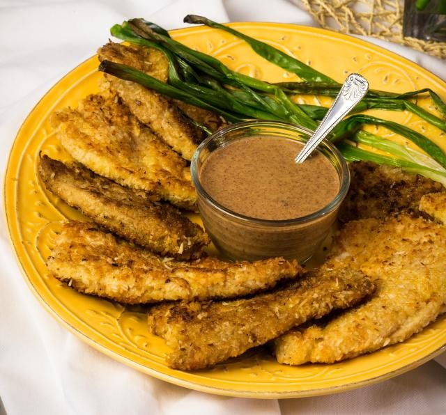 Coconut Schnitzel With Almond Butter Sauce from Paula Shoyer's The New Passover Menu.