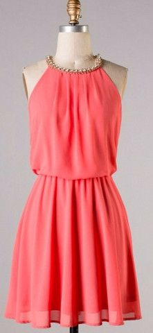 Coral Dress with Rhinestone Detail women fashion clothing style apparel @roressclothes closet ideas