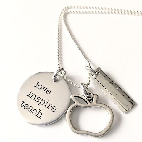 Teacher Appreciation Gift, Hand Stamped Necklace