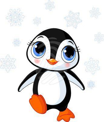 Clip art: Cute winter penguin