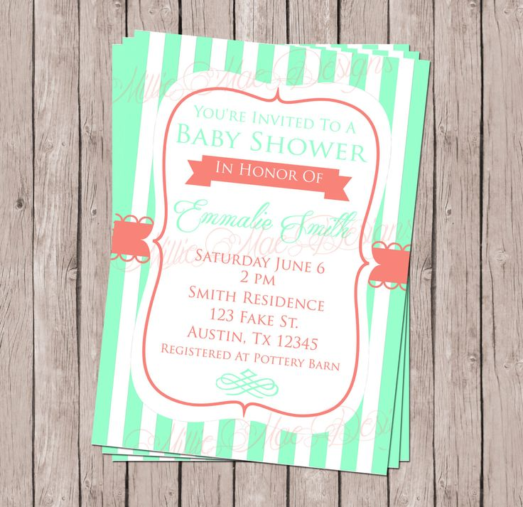 Mint and Coral or Mint and Navy Party Invitation - Birthday - Retirement - Bridal Shower - Baby Shower - Graduation by MillieMaeDesigns2012 on Etsy https://www.etsy.com/listing/233410008/mint-and-coral-or-mint-and-navy-party