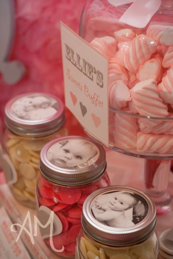 Mason Jars with pictures....Pink Elephant 1st Birthday Party