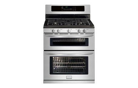 "Frigidaire Gallery 30"" Freestanding Gas Double Oven Range. I love the idea of two in one! And also the way a tall dish can be cooked by two smaller dishes with one each dish on its own rack. If the power goes out, cooking does not stop because this beauty runs on gas!"