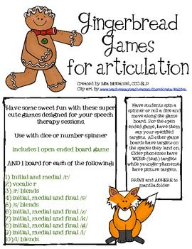 Gingerbread Games for Articulation- 11 game boards including open ended and phoneme specific