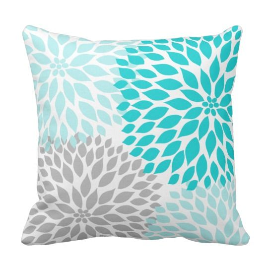 Turquoise blue Gray Dahlia mod decor sofa pillow Blue grey, Pillows and Gray