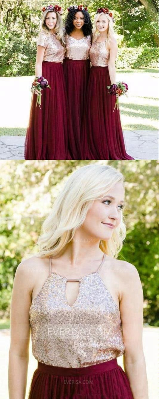 92484796aa Burgundy Tulle Bridesmaid Dresses Two Pieces Sequin Graduation Dresses in  2018