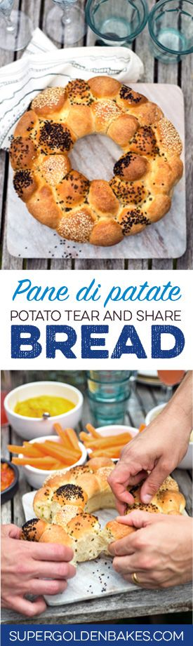This herby tear and share potato bread (pane di patate) is perfect for sharing at a dinner party and makes a stunning centrepiece.