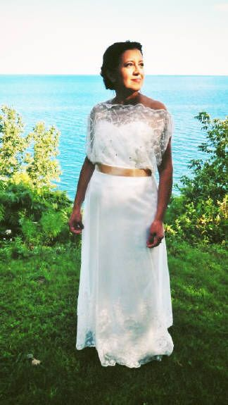Beautiful crystal and pearl embroidered top (reversible) and skirt