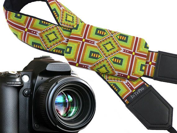 Inspired by Native Americans pocket camera strap. Green, purple, yellow ornaments. Bright pocket camera strap with personalization option