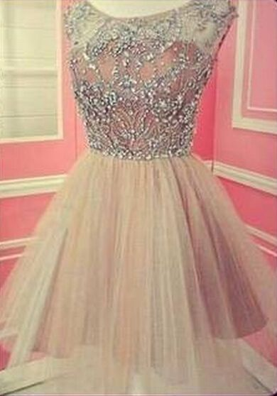 Beautiful A Line Scoop Women Prom Party Gowns Short Champagne 8Th Grade Graduation Homecoming Dresses With Cap Sleeves 207