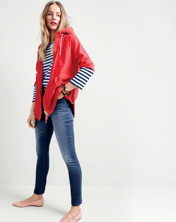 J.Crew women's convertible zip anorak jacket, striped boatneck T-shirt, toothpick jean in Lancaster wash, tortoise link bracelet and leather lace-up ballet flats.