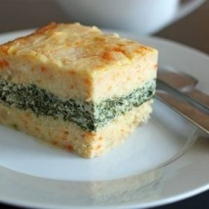 Potato baked pudding with chicken and greens. Recipes with photos.