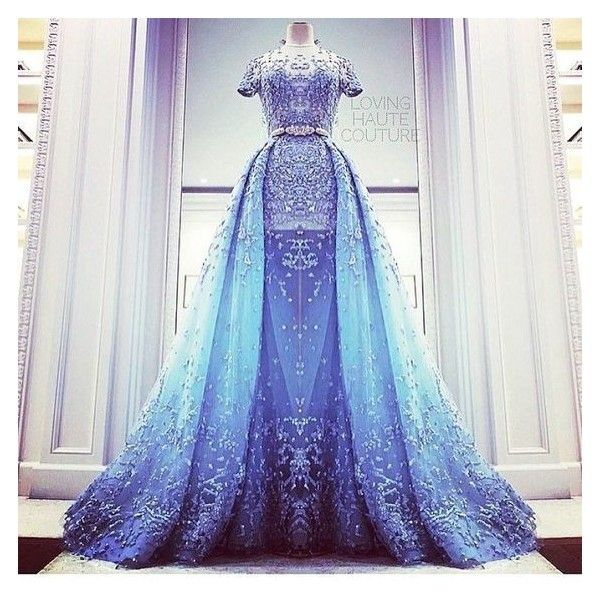 Zuhair murad Blue gown ❤ liked on Polyvore featuring dresses, gowns, blue evening gown, blue gown, blue dress, blue evening dresses and blue ball gown