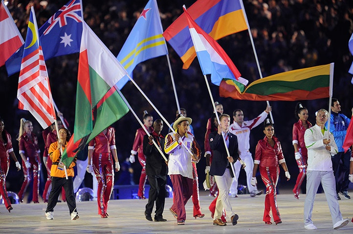 The Flags of the Nations parade into the stadium during the closing ceremony