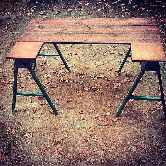 1000 images about table talk vintage repurposed on Sawhorse desk legs