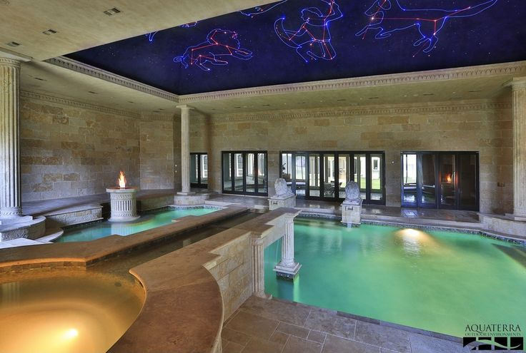 ** Traditional hot tub with indoor pool and fountain.