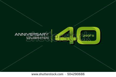 40 Years Anniversary Celebration Logo, Green, Isolated on Dark Green Background
