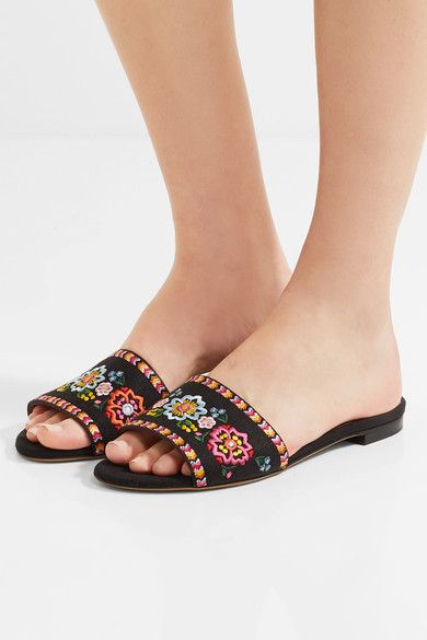 Tabitha Simmons - Sprinkles Fest Embroidered Canvas Slides - Black - IT