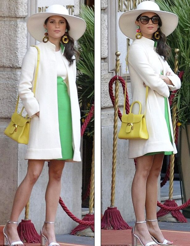 Gaby's green and white ensemble in The Man from U.N.C.L.E. (set in 1963)
