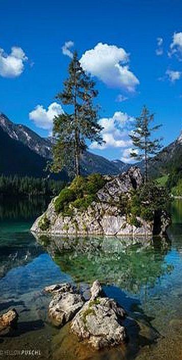 GERMANY ♦ BAYERN ♦ Hinterseeinsel bei Ramsau (Berchtesgadener Land) #by Yellow Puschl (Biene) #landscape lake sea water sky clouds tree forest wood stone island nature