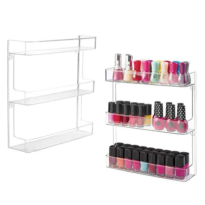 Mdesign Wall Mount Plastic Nail Polish Makeup Organizer Storage