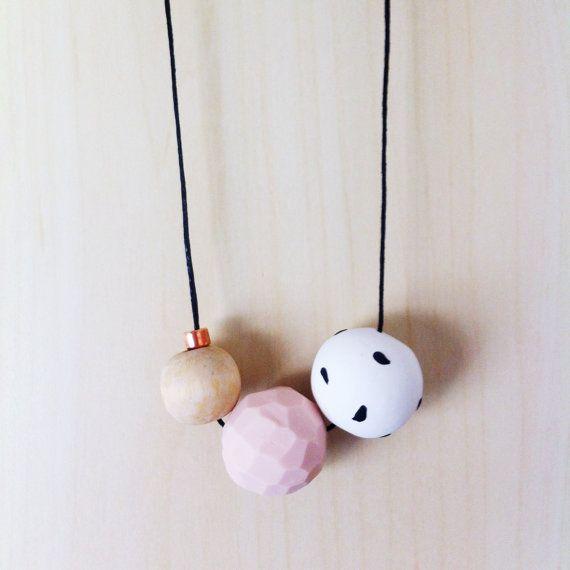 Cora  Handmade Polymer clay Necklace 3 bead by onthedotdesign