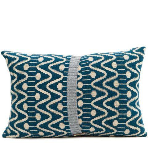 Alpine lambswool knitted cushion in blue & cream - seven gauge studios, UK