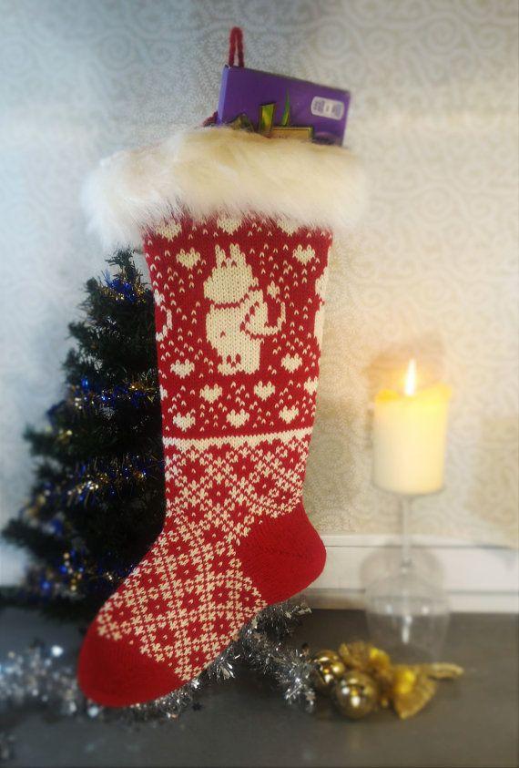 Wool Moomin Christmas sock Hand-made Christmas by LanaNere on Etsy