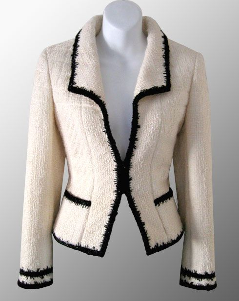 I could go black with my pink fabric trim!CHANEL Ivory Contrast Trimmed Boucle Jacket