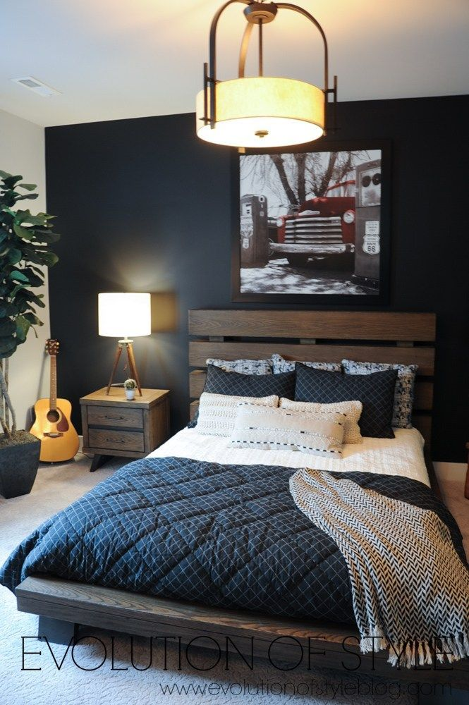 Basement Bedroom With Dark Accent Wall Gray Accent Wall Bedroom Dark Bedroom Walls Dark Accent Walls