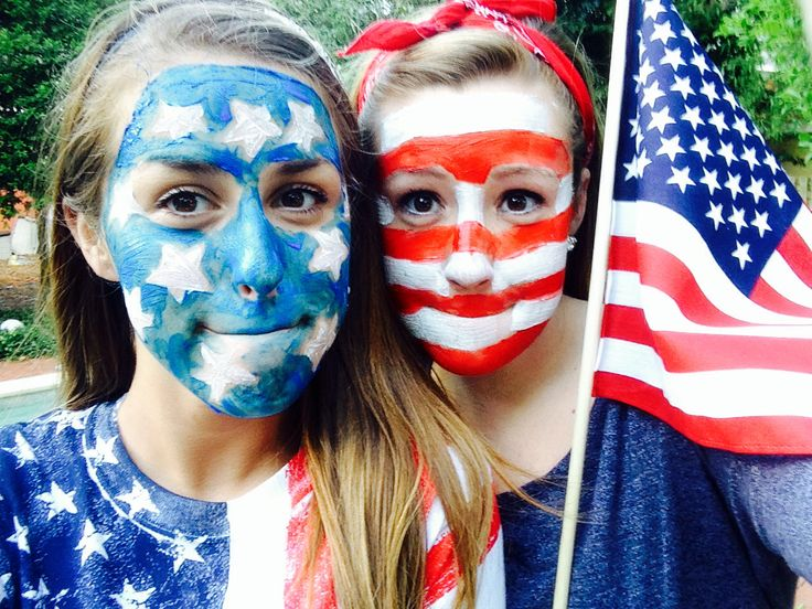 """Fourth of July Activity for friends Fourth of July American flag face paint """"the stars to my stripes"""""""