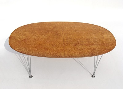 """Superellipse"" wooden topped coffee table on metal legs by Piet Hein and Bruno Mathsson."