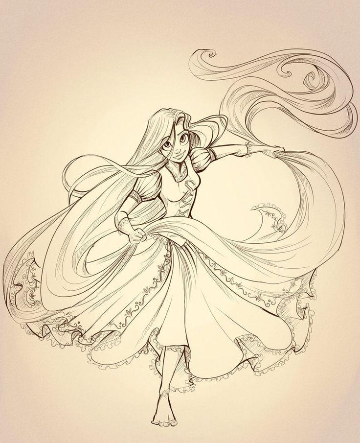 Rapunzel Lineart by *sharpie91 on deviantART