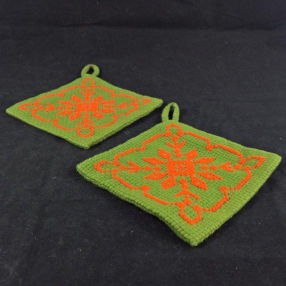 Pot Holders handmade vintage potholder crochet pot holders