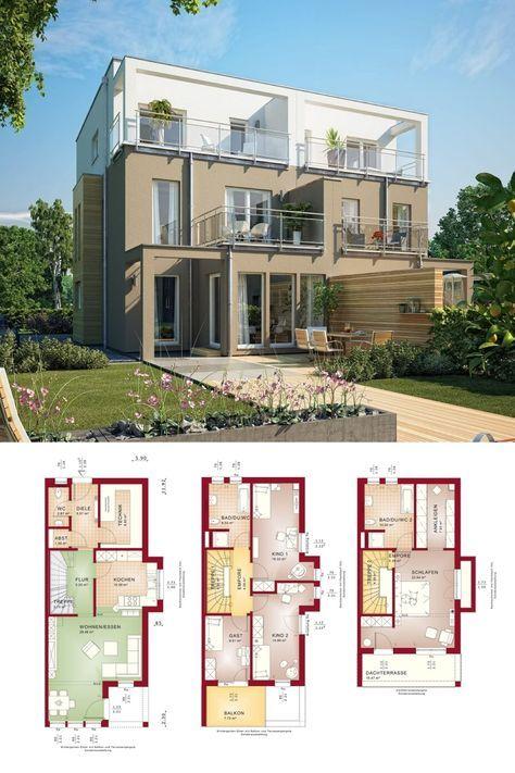 Doppelhaus Modern Mit Flachdach Grundriss