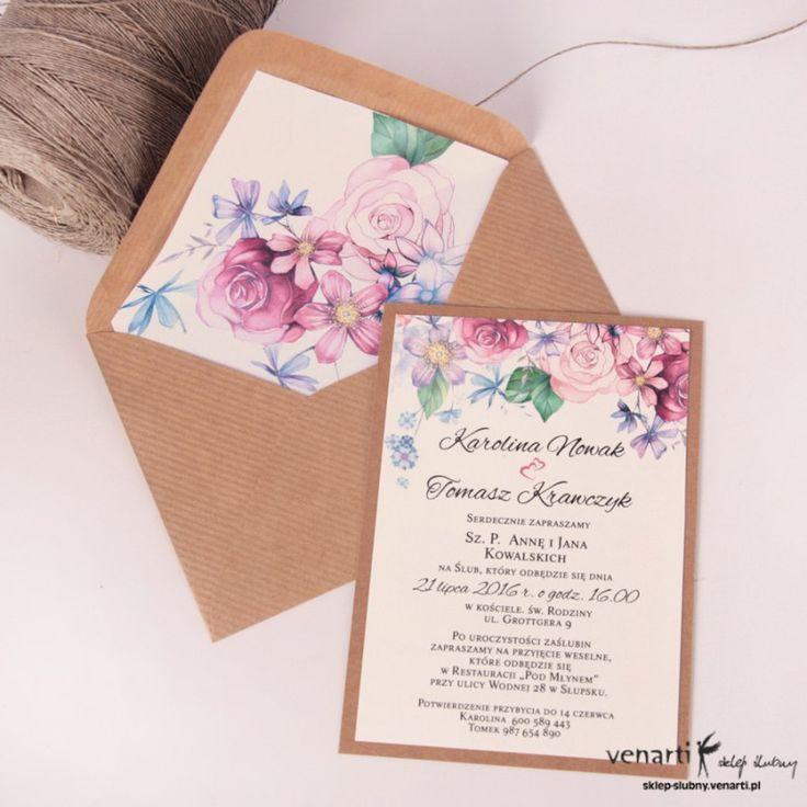 Zaproszenia ślubne kwiatowe + koperta kwiatowa (Kod: KP031a) Zaproszenia papierowe Zaproszenia ślubne