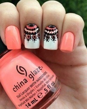Beautiful nails 2016, Bright summer nails, Coral and white nails, Ethnic nails, Manicure by summer dress, Nails with ornament, Original nails, Pattern nails