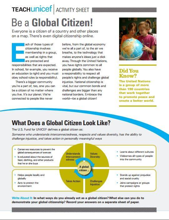 Activity Sheet to Teach about Global Citizenship (grades 9-12)