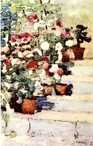 Flowers on stairs - Stefan Luchian