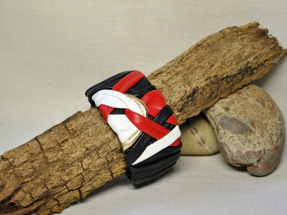 Infinity leather bracelet  black white and red by EthnoBird, $25.00