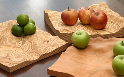 Fluid Earth landscape contour bowls, cnc routed from wood using a raster cutting strategy with variable Z axis
