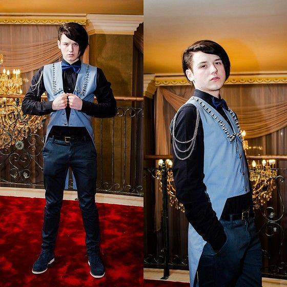 Deichmann Dark Blue Leather Shoes, H Slim Fit Chino Jeans, Zara Black Slim Fit Shirt, Topman Dark Blue Tie, Handmade Vest