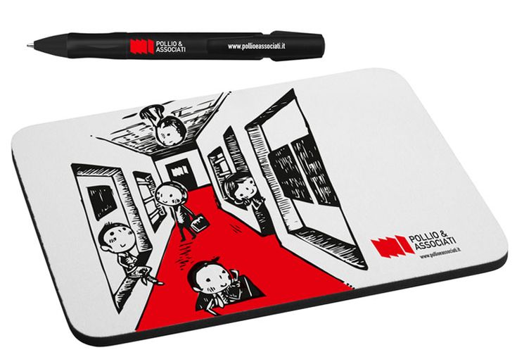 Pollio&Associati corporate identity, gadget, pen and mouse pad Illustrazione Fusayo Takeuchi