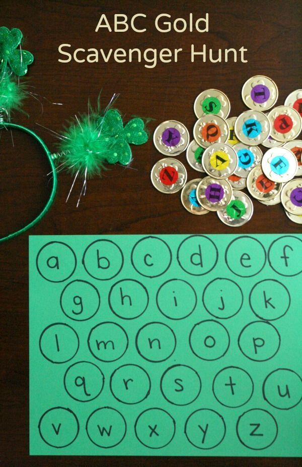 ABC Gold Scavenger Hunt for St. Patrick's Day Activity. Such a motivating way to practice alphabet letters.